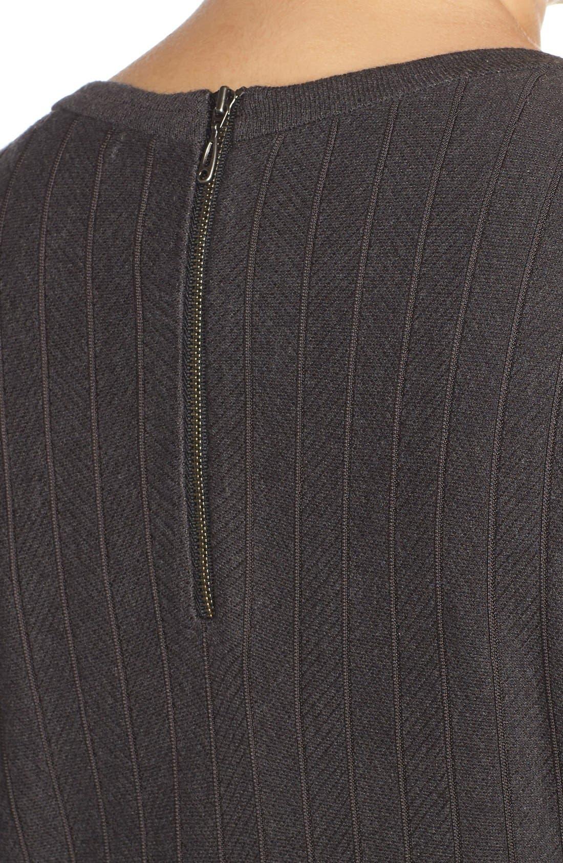 'Twirl' Elbow Sleeve Knit Fit & Flare Dress,                             Alternate thumbnail 4, color,                             Phantom Heather