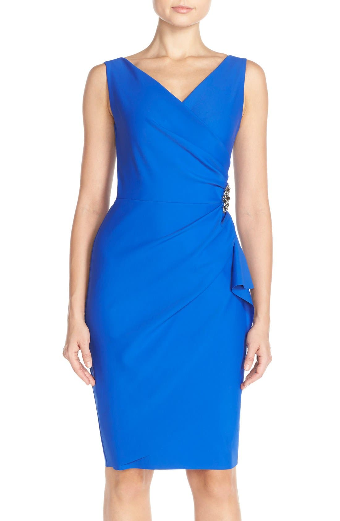 Side Ruched Dress,                         Main,                         color, Royal