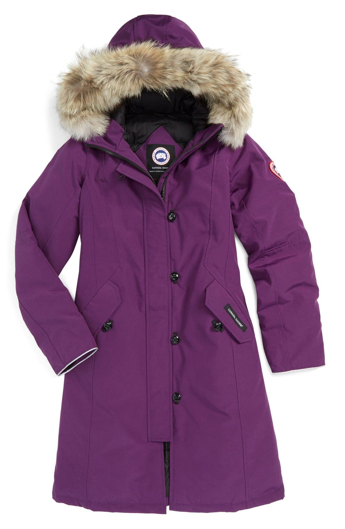 Canada Goose 'Brittania' Down Parka with Genuine Coyote Fur Trim (Little Kid & Big Kid)