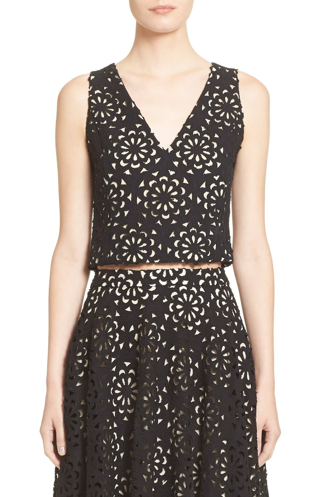 Main Image - Alice + Olivia 'Lyla' Lace V-Neck Shell