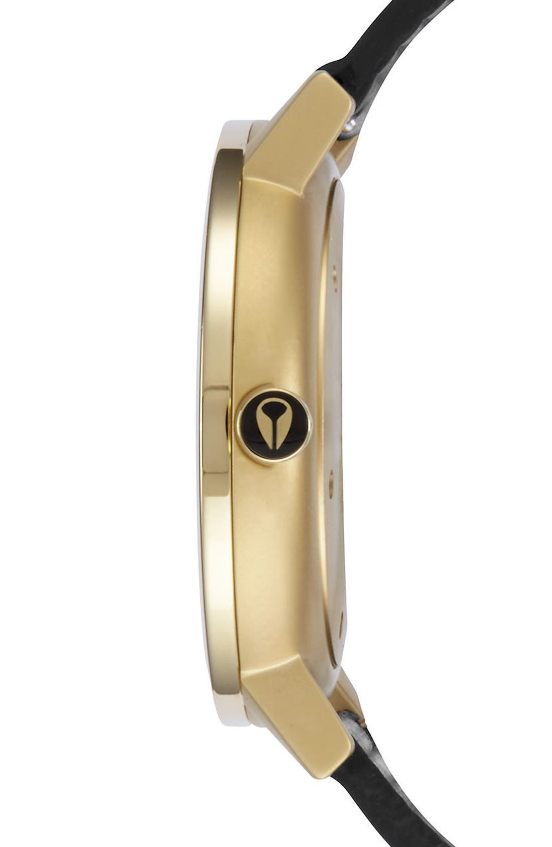 'Rollo' Leather Strap Watch, 42mm,                             Alternate thumbnail 3, color,                             Black/ Black