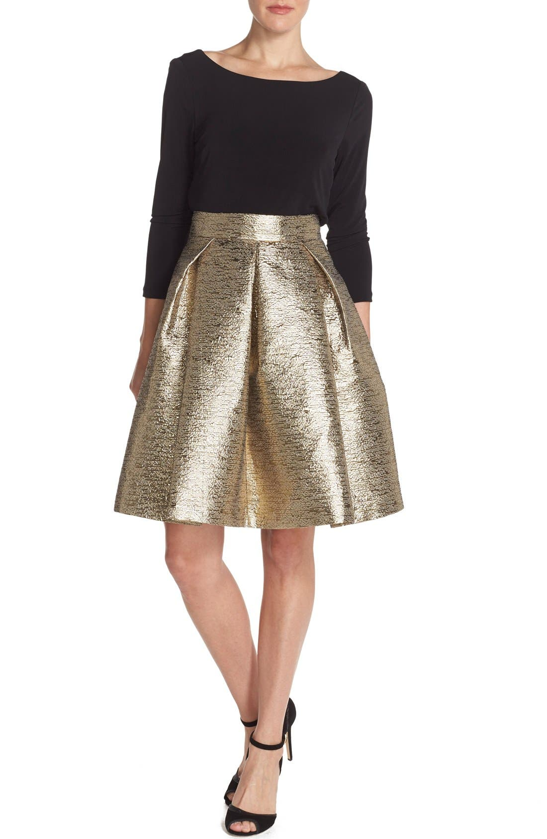 Alternate Image 3  - Eliza J Metallic Jacquard Flared Skirt