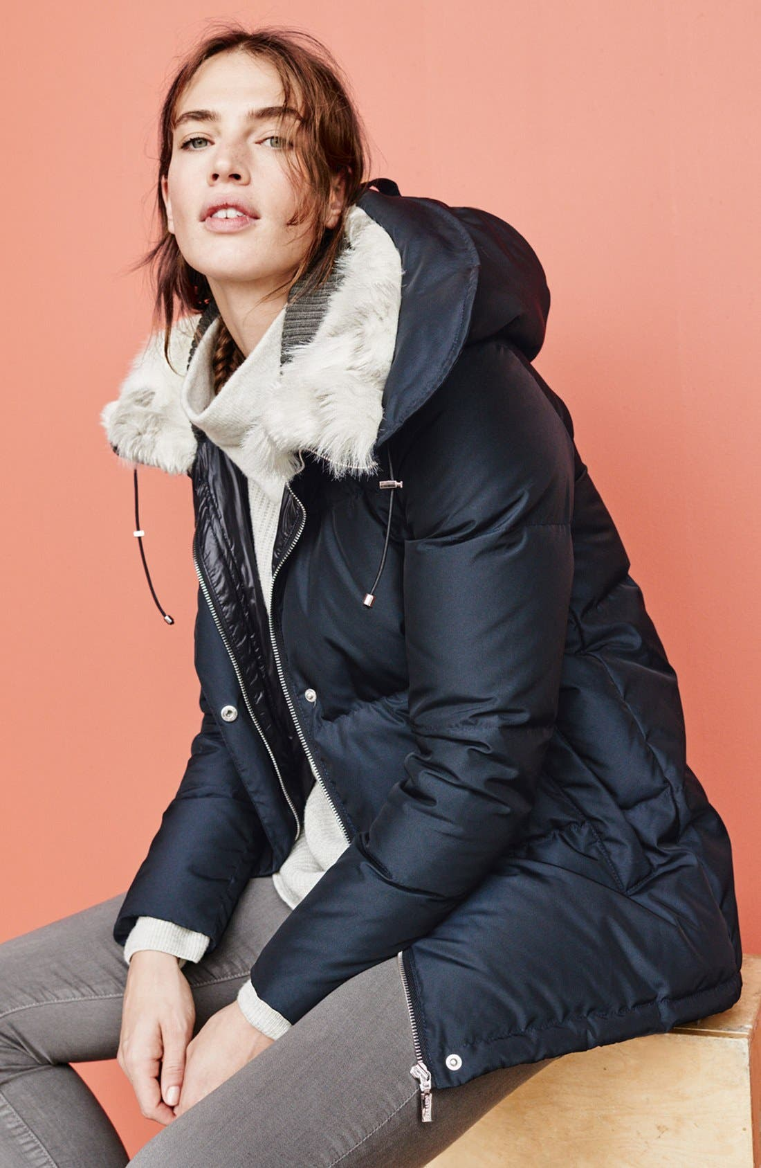 Alternate Image 6  - Bernardo Hooded Down & Feather Fill Parka with Faux Fur Trim