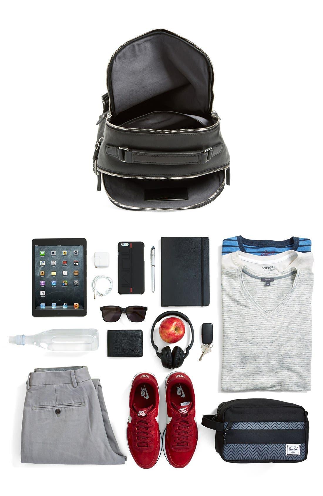 Runwell Leather Laptop Backpack,                             Alternate thumbnail 11, color,                             Black