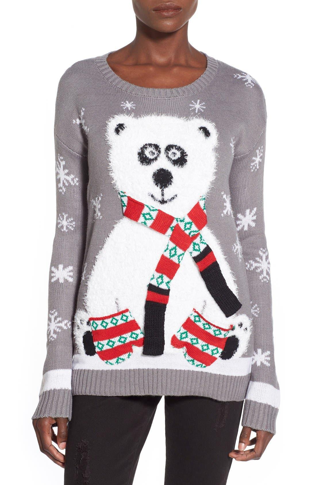 Alternate Image 1 Selected - Derek Heart Polar Bear Christmas Sweater