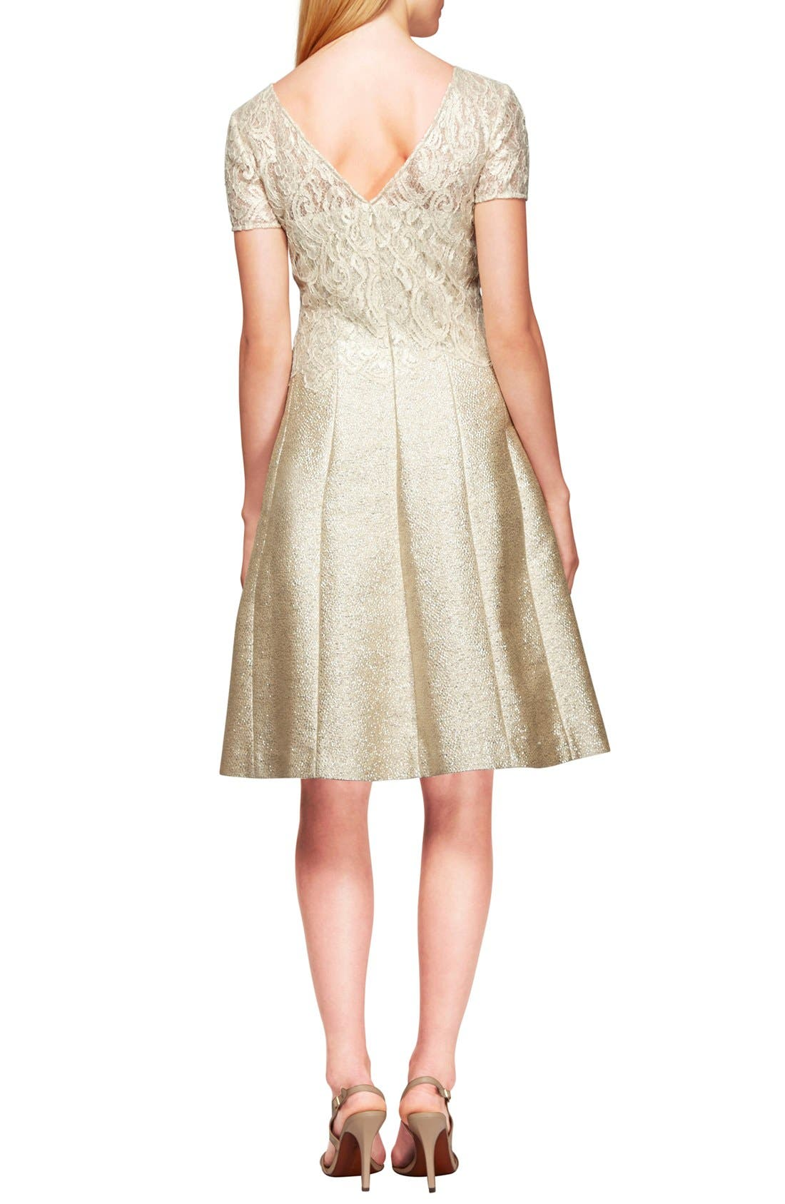 Lace Jacquard Fit & Flare Dress,                             Alternate thumbnail 2, color,                             Cream