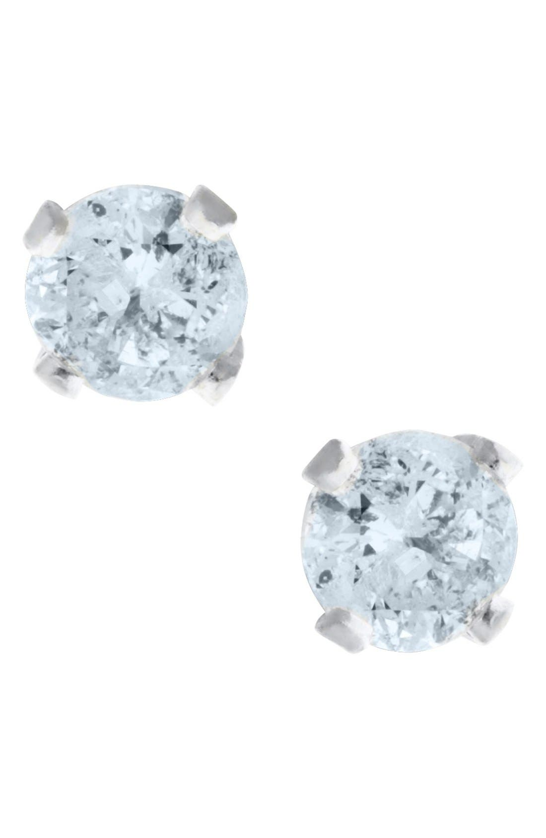 Mignonette 14k White Gold & Diamond Stud Earrings (Baby Girls)