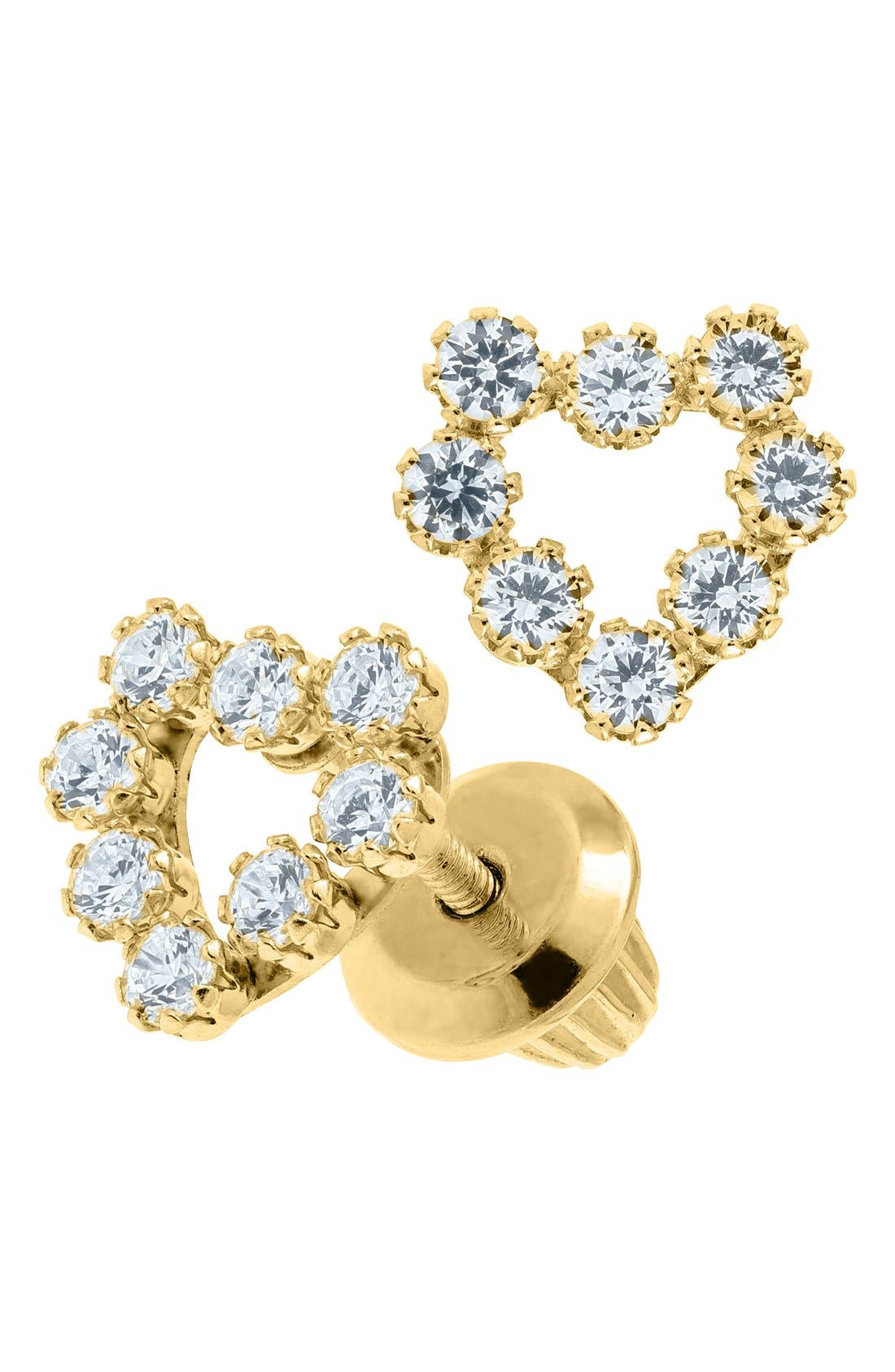 Alternate Image 2  - Mignonette 14k Gold & Cubic Zirconia Heart Earrings (Baby Girls)