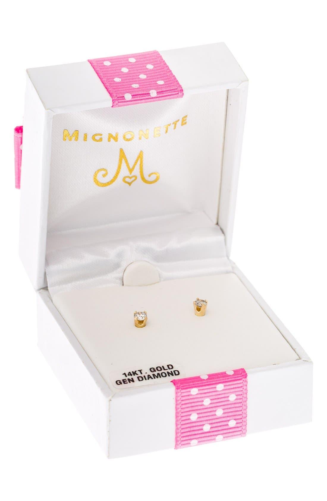 Alternate Image 3  - Mignonette 14k Yellow Gold & Diamond Stud Earrings (Baby Girls)