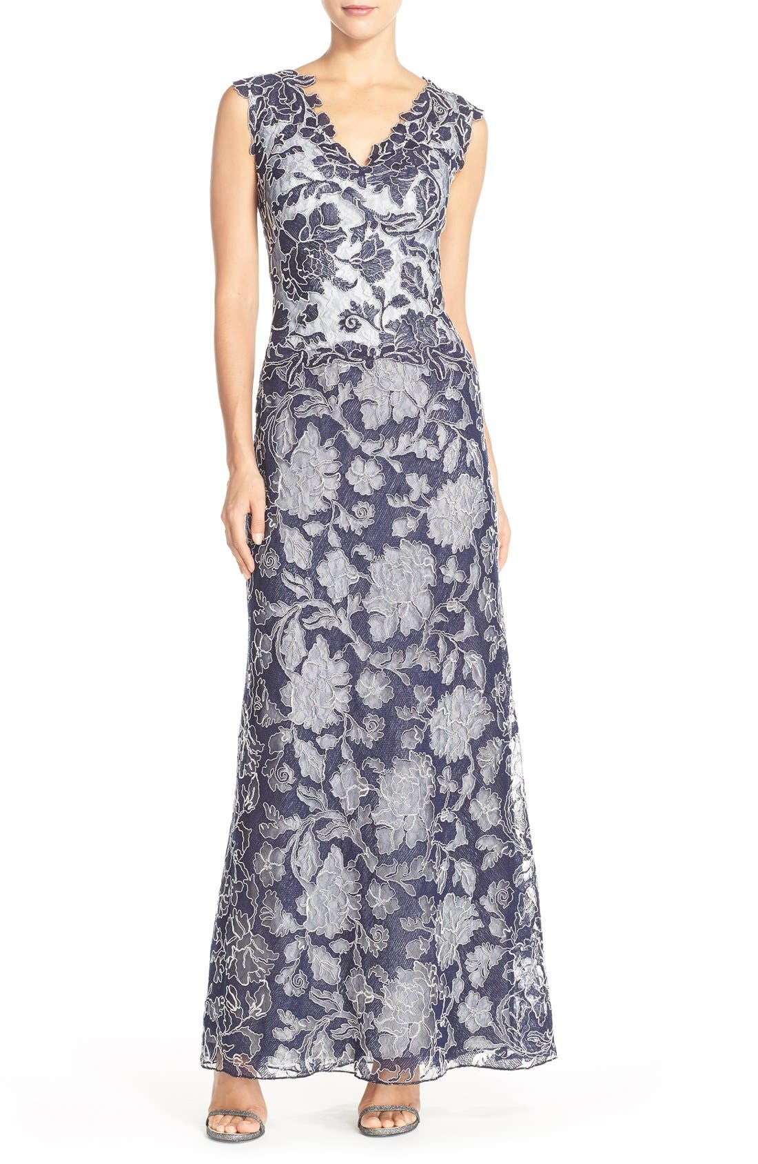 Embroidered Lace Gown,                         Main,                         color, Royal Navy