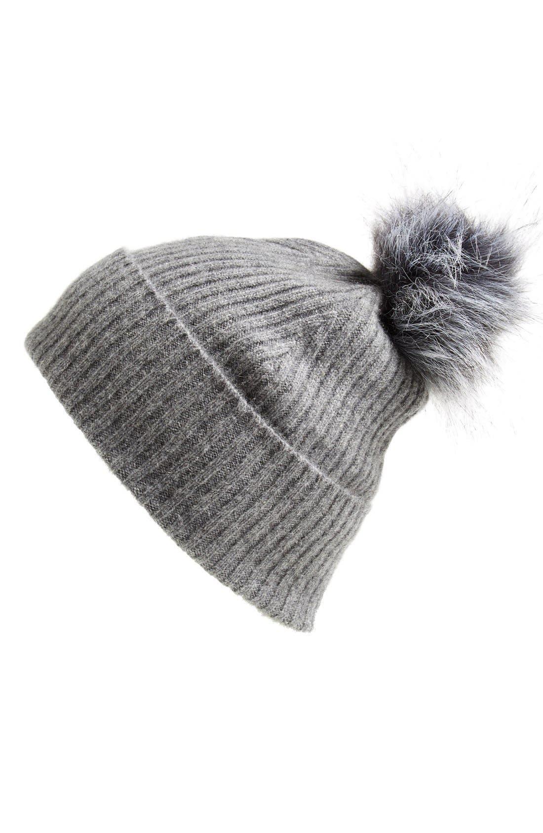 Main Image - Halogen® Faux Fur Pom Cashmere Blend Beanie