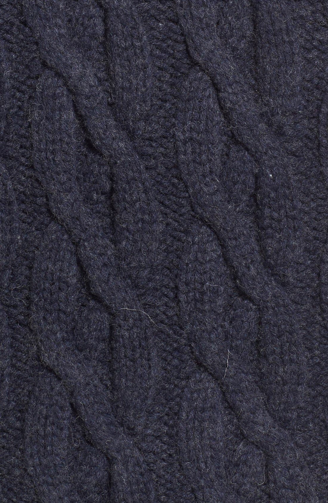 Regular Fit Cable Knit Crewneck Wool Blend Sweater,                             Alternate thumbnail 5, color,                             Navy
