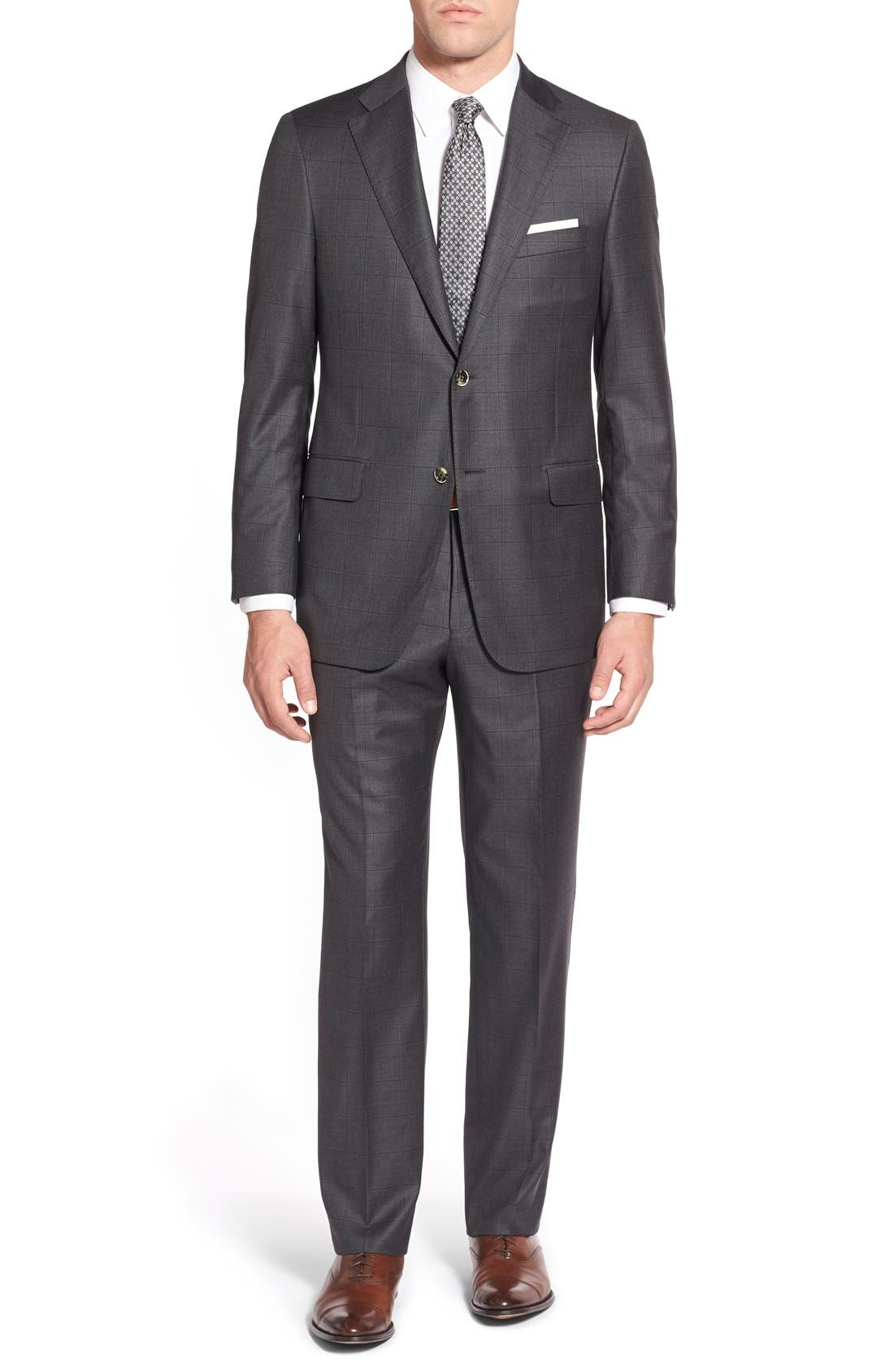 HICKEY FREEMAN Beacon B Classic Fit Windowpane Wool Suit