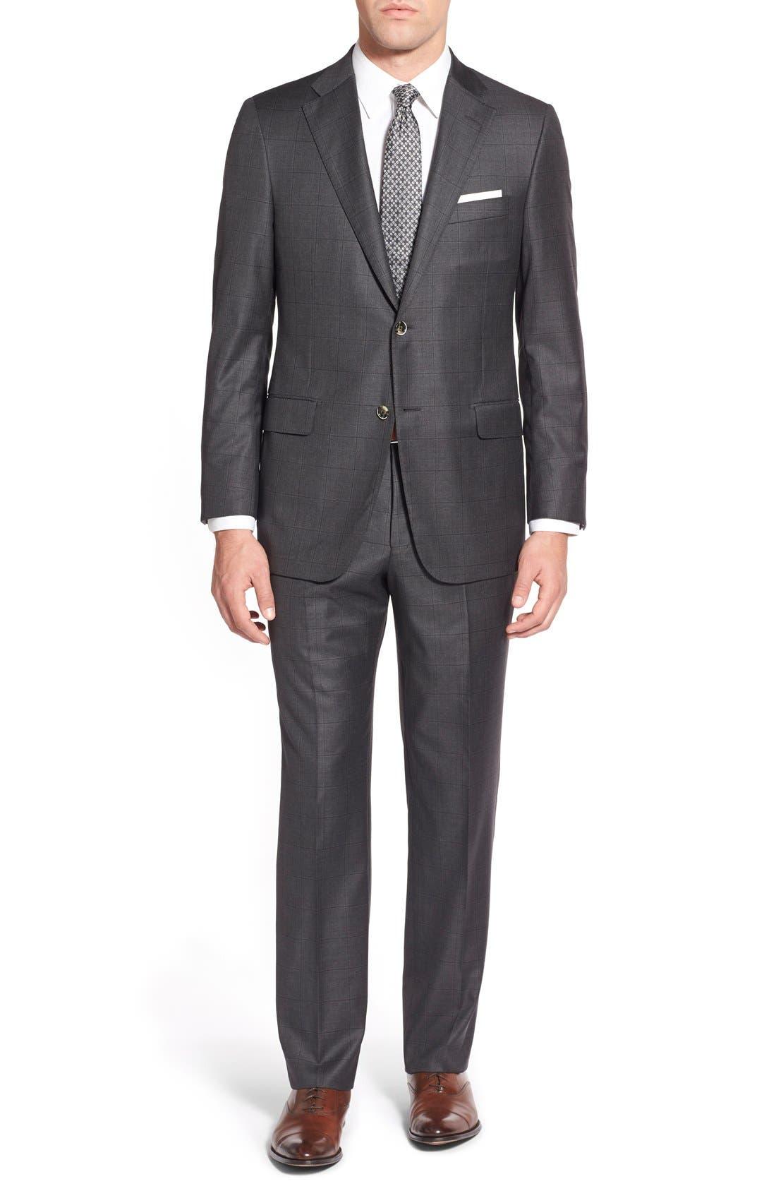 Main Image - Hickey Freeman Classic B Fit Windowpane Wool Suit