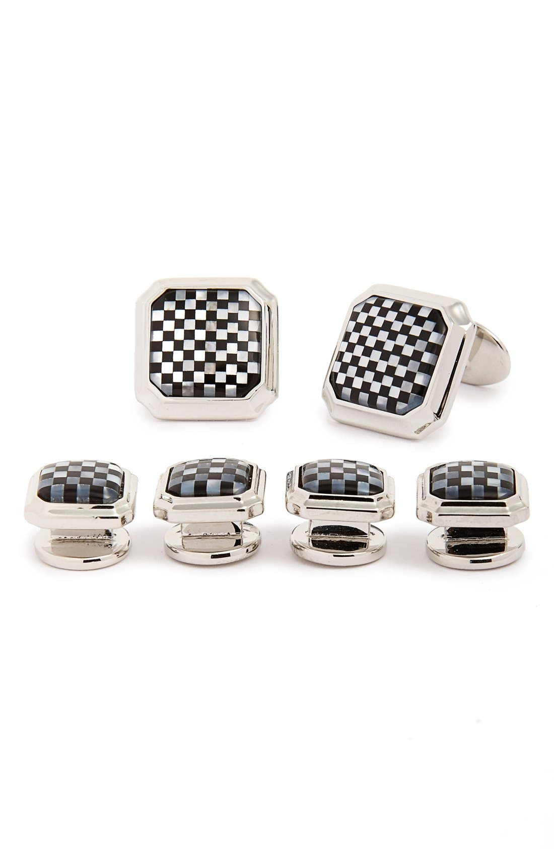 Sterling Silver Cuff Link & Stud Set,                             Main thumbnail 1, color,                             Silver