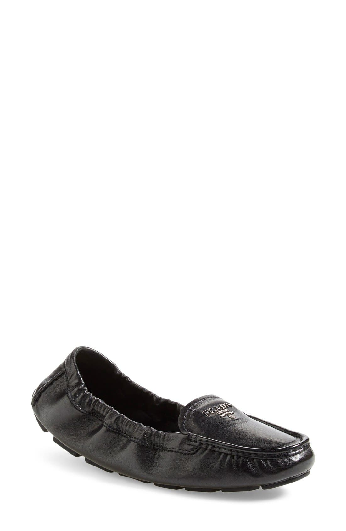 'Scrunch' Driving Loafer,                             Main thumbnail 1, color,                             Black Leather