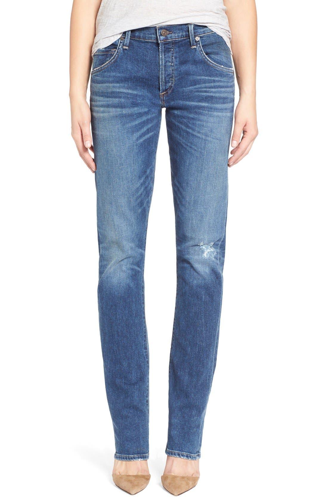 'Emerson Long' Slim Boyfriend Jeans,                         Main,                         color, Blue Mountain