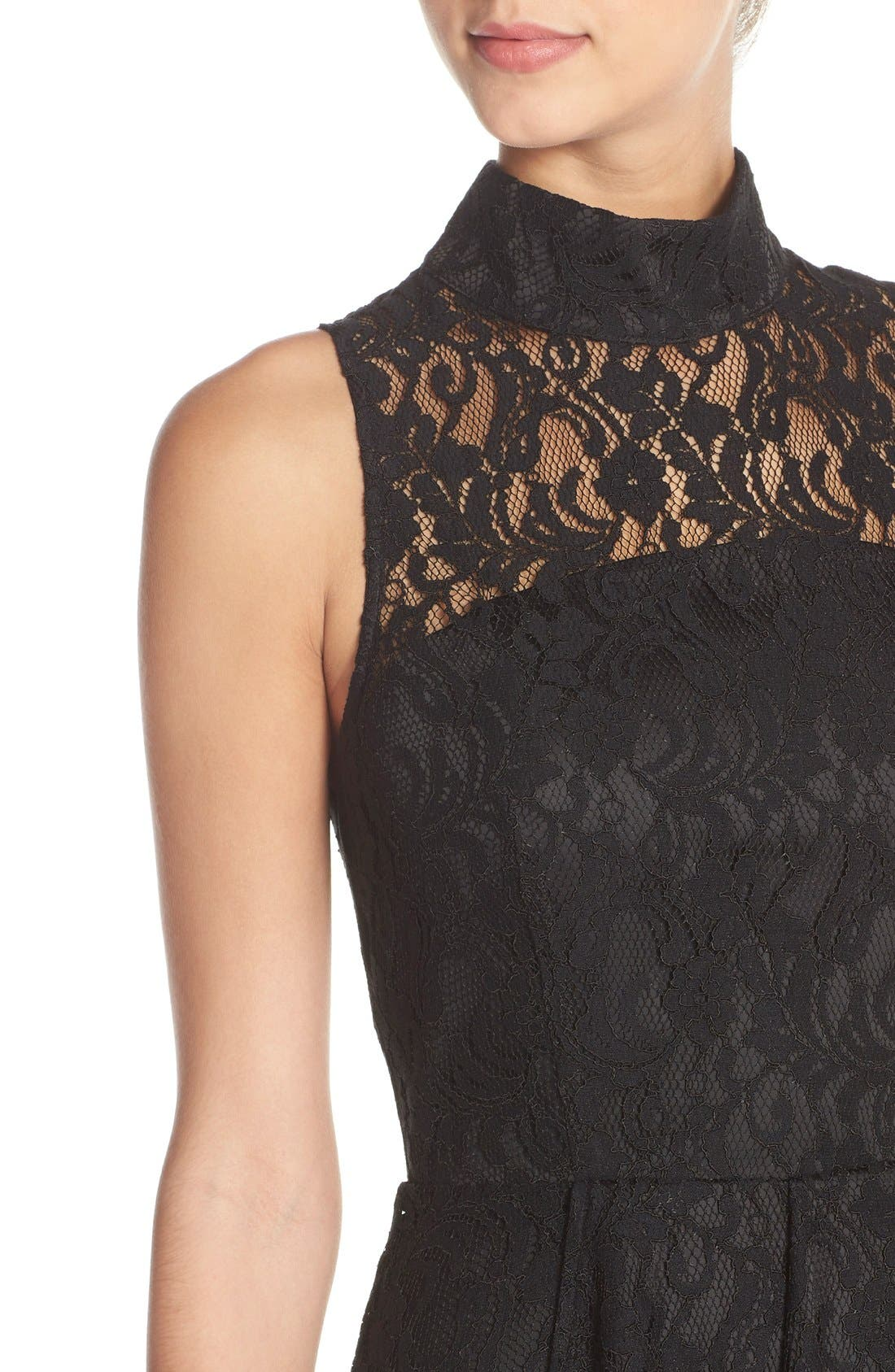 Alternate Image 5  - Adelyn Rae Mock Neck Lace Fit & Flare Dress