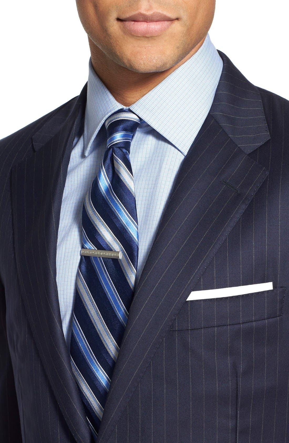 'Beacon - B Series' Classic Fit Stripe Wool Suit,                             Alternate thumbnail 4, color,                             Navy