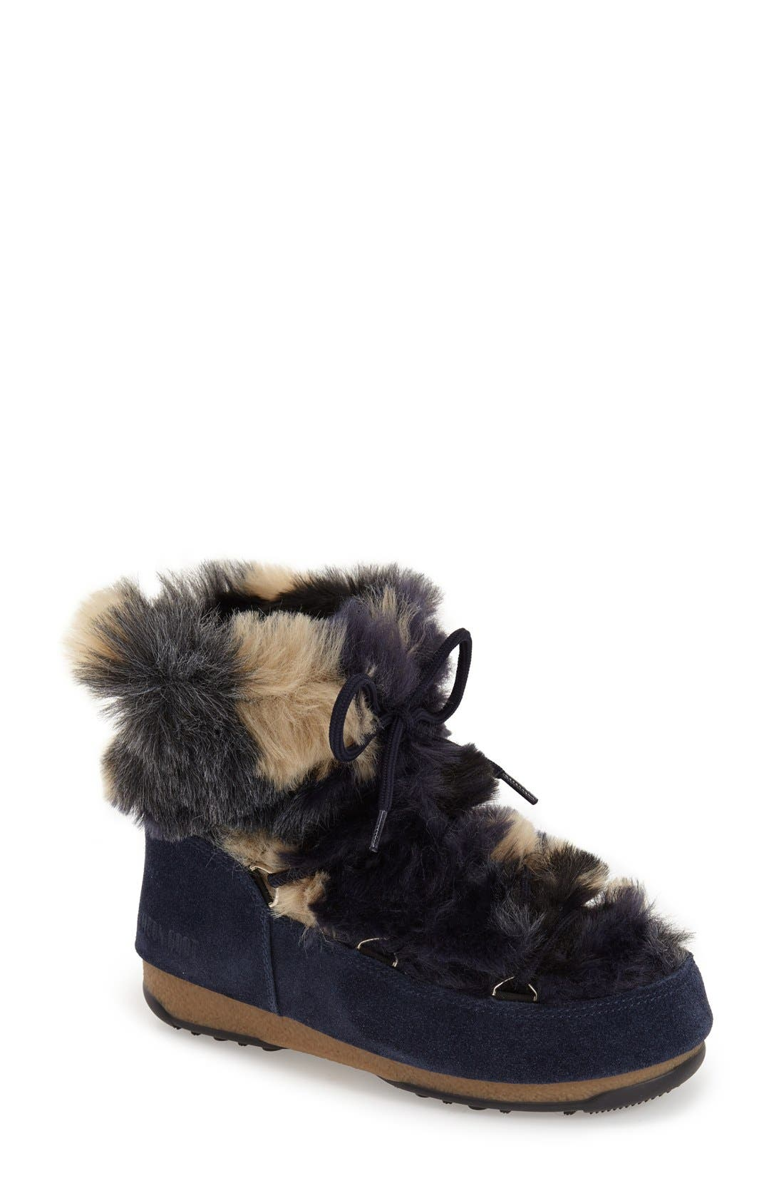 Main Image - Tecnica® Camo Flip Paillette Water Resistant Insulated Moon Boot® with Faux Fur Lining (Women)
