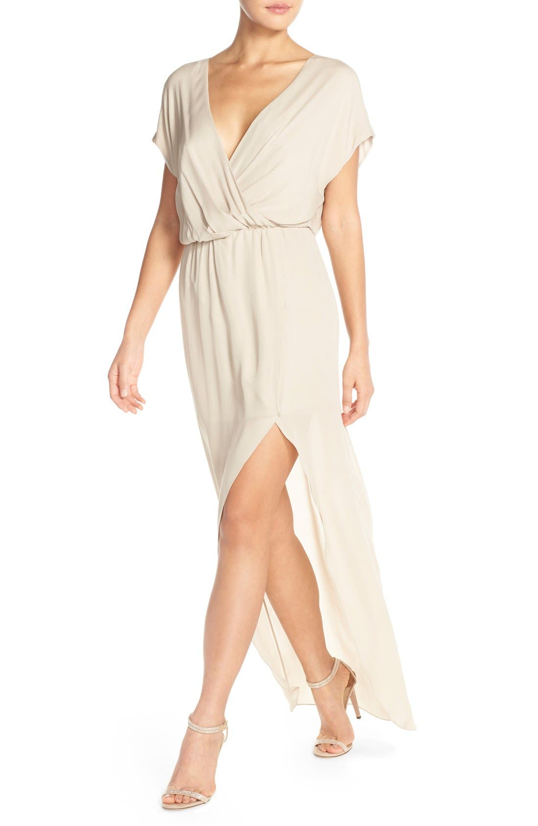 'Plaza' Faux Wrap Silk Georgette Cutaway Gown,                             Alternate thumbnail 4, color,                             Nude