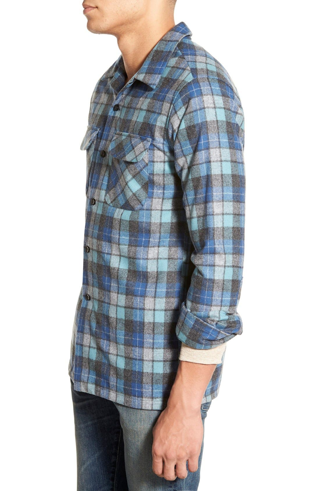 'Board' Regular Fit Flannel Shirt,                             Alternate thumbnail 3, color,                             Blue Original Surf Plaid