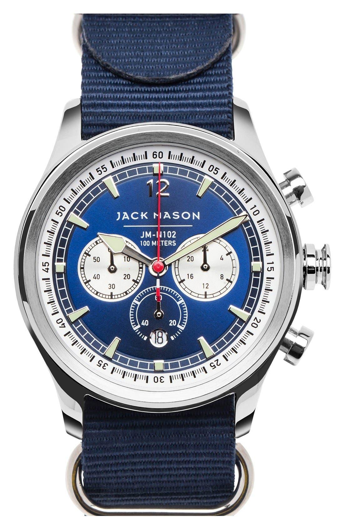 Nautical Chronograph NATO Strap Watch, 42mm,                             Main thumbnail 1, color,                             Navy/ Navy