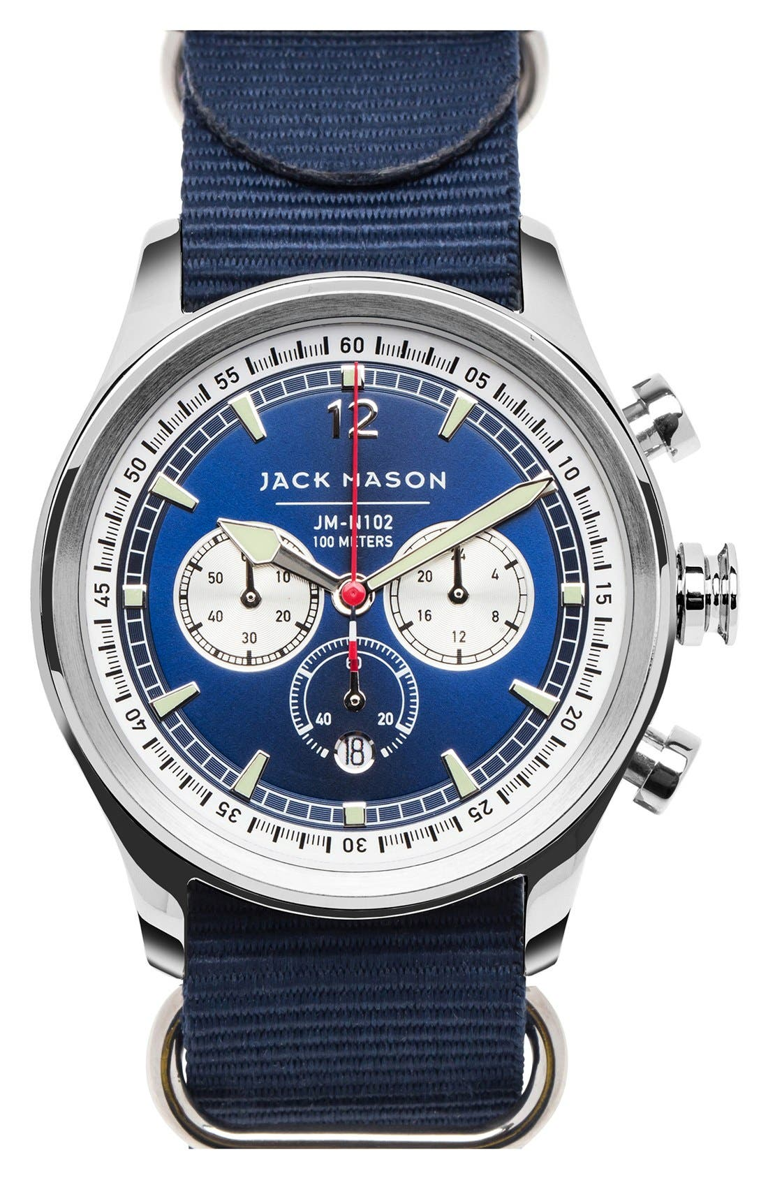 Nautical Chronograph NATO Strap Watch, 42mm,                         Main,                         color, Navy/ Navy