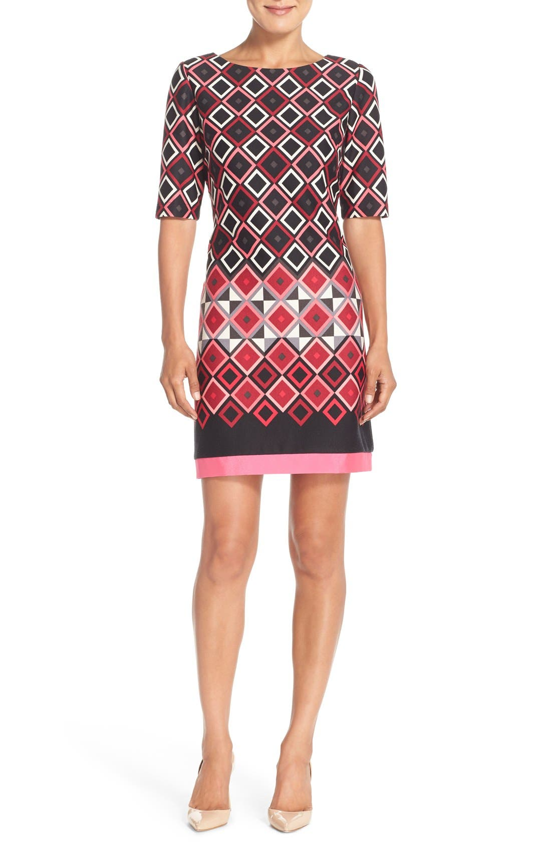Alternate Image 1 Selected - Eliza J Print Ponte Shift Dress (Regular & Petite)