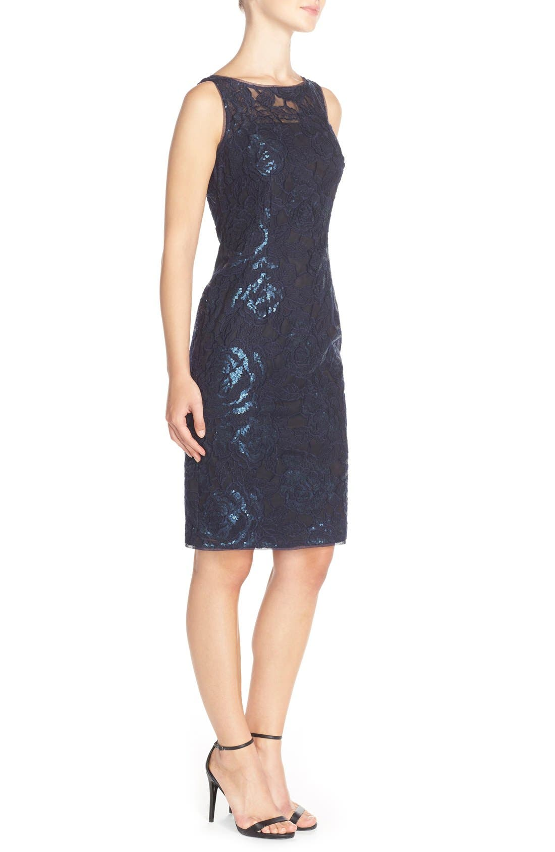 Illusion Sequin Lace Sheath Dress,                             Alternate thumbnail 3, color,                             Navy