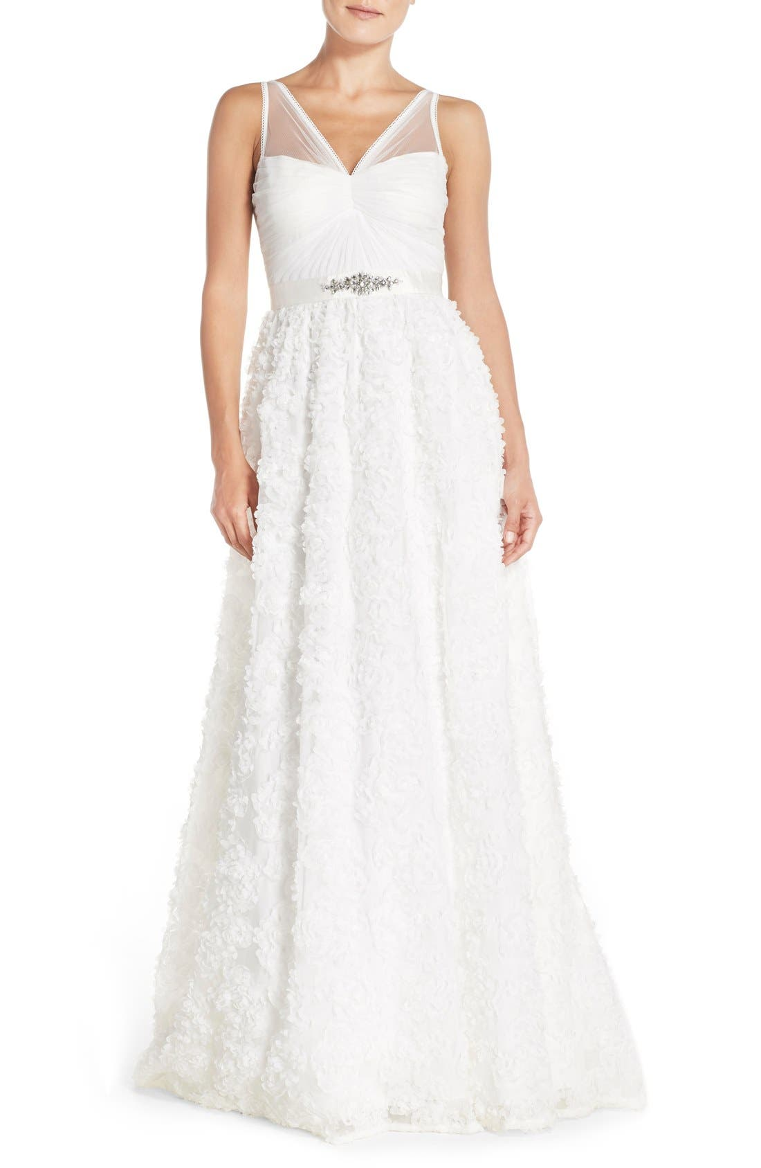 Main Image - Adrianna Papell Tulle Rosette Chiffon Gown