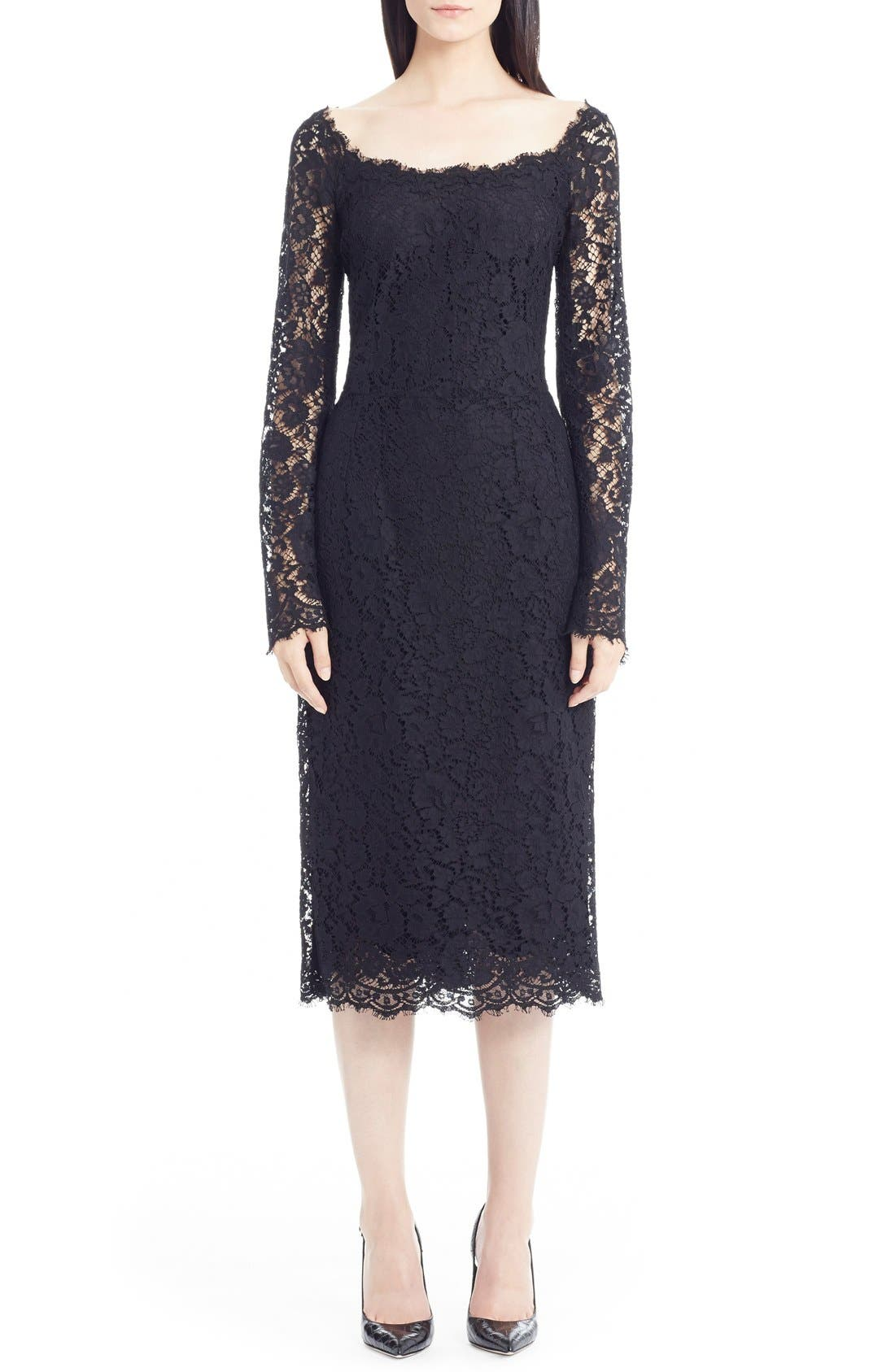 Main Image - Dolce&Gabbana Scoop Neck Lace Dress