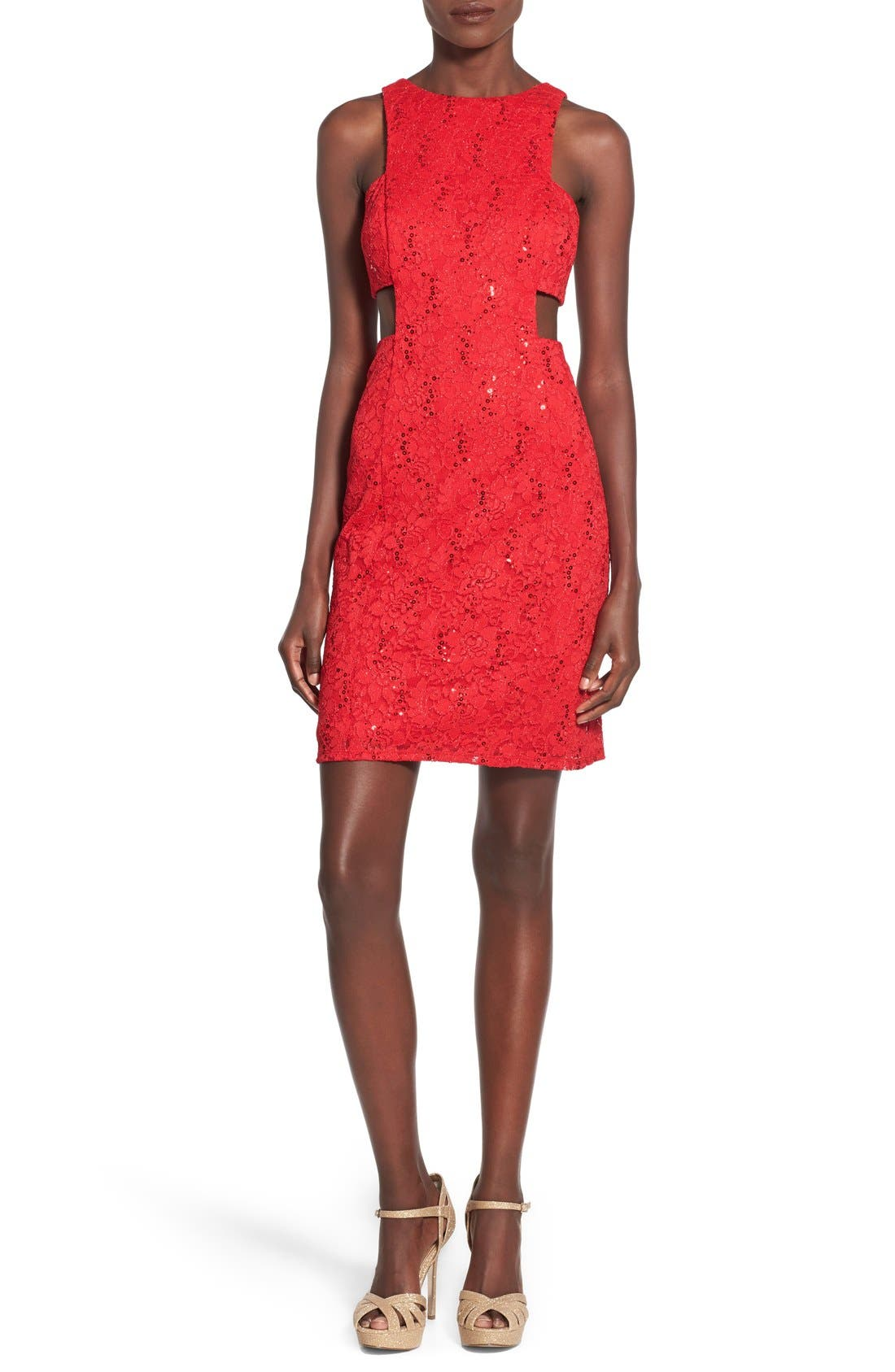 Alternate Image 1 Selected - Morgan & Co. Side Cutout Sequin Lace Dress