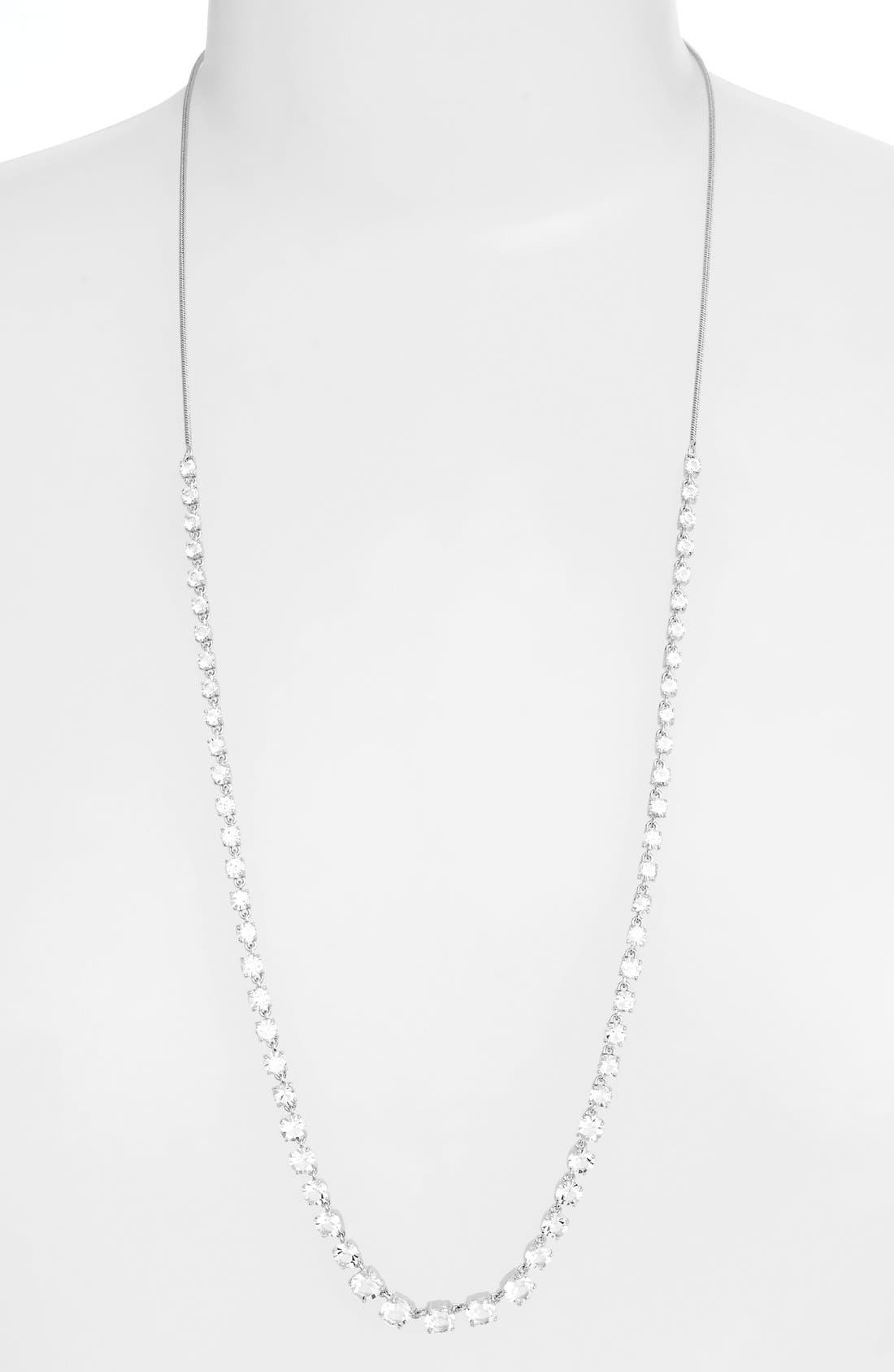 Jeweled Long Necklace,                         Main,                         color, Silver