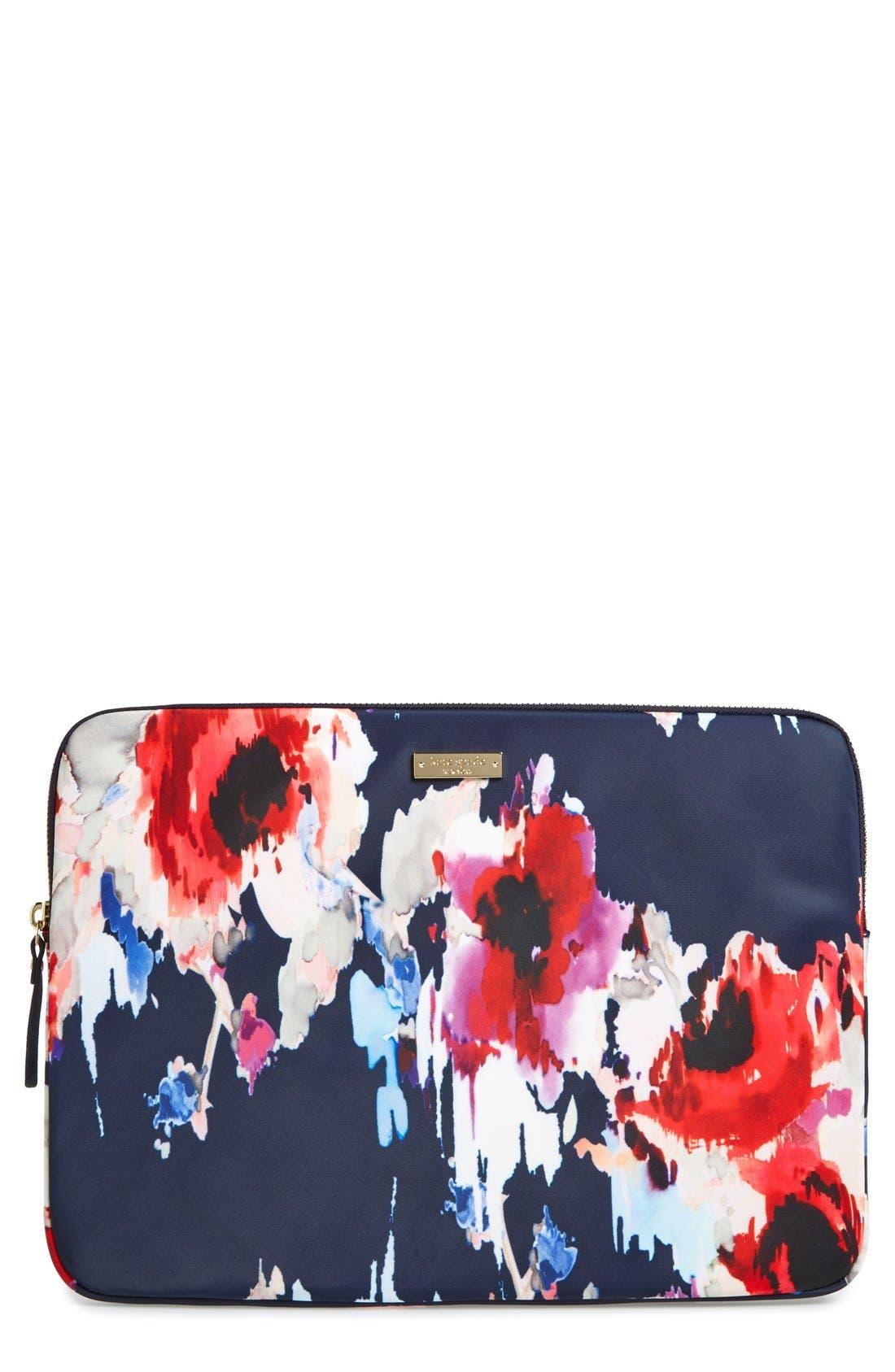 Main Image - kate spade new york 'hazy floral' laptop sleeve (13 inch)