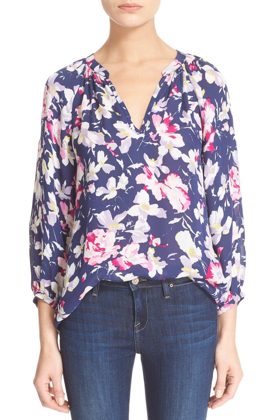 Alternate Image 1 Selected - Joie 'McKenna' Floral Print Silk Blouse