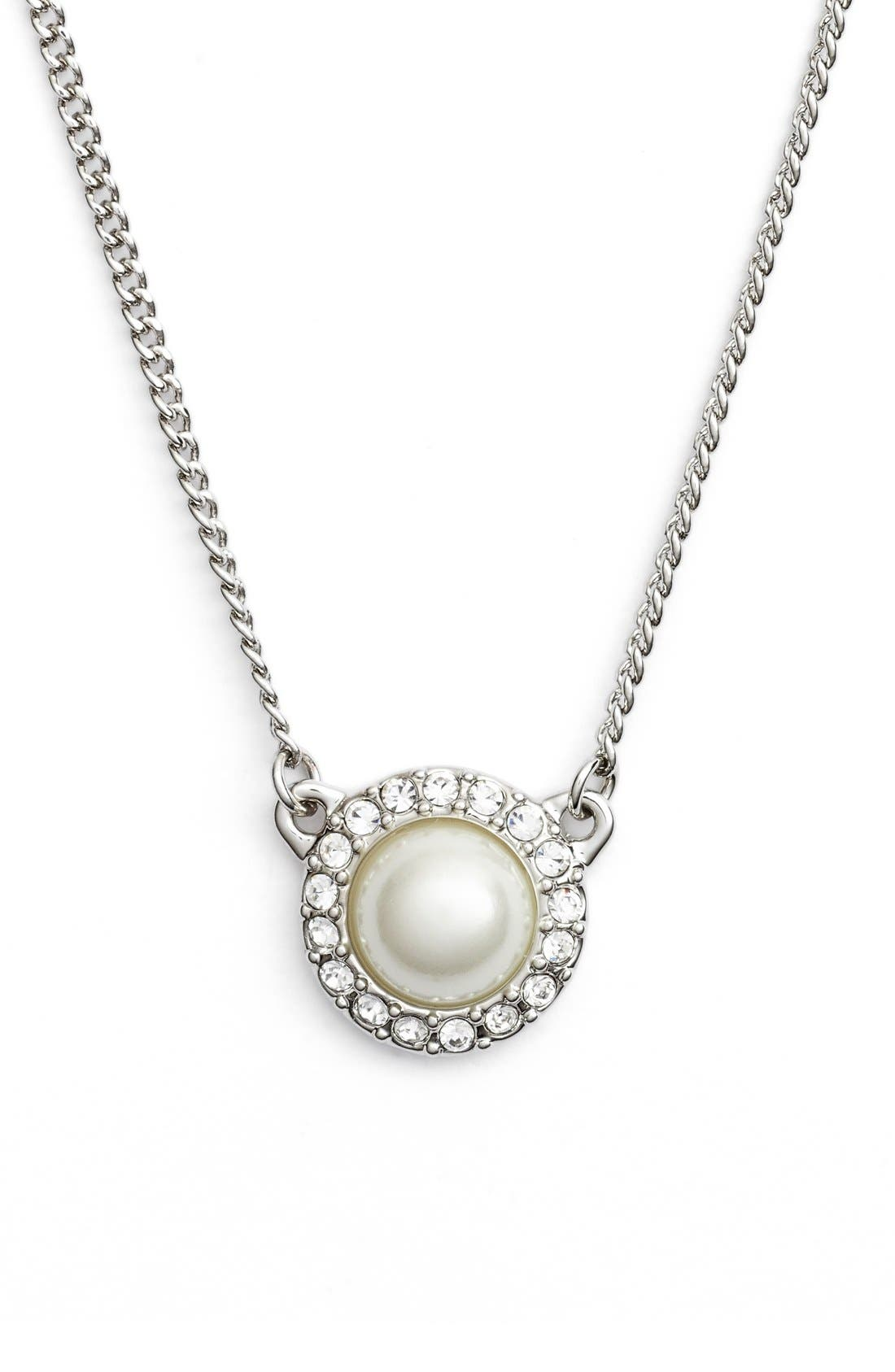 Imitation Pearl Pendant Necklace,                         Main,                         color, Silver/ White