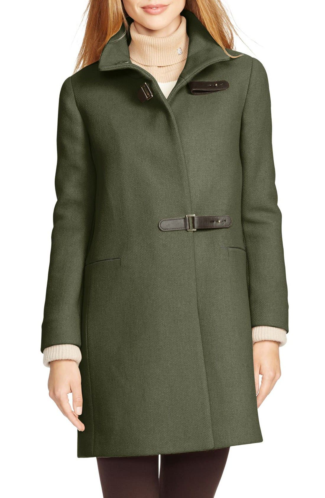 Funnel Neck Basket Weave Coat with Knit Cuffs,                         Main,                         color, Loden