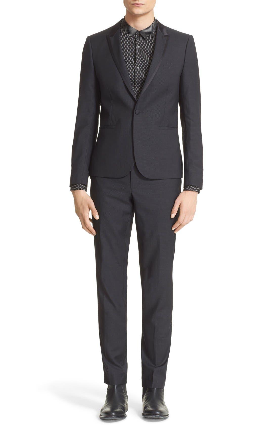 'Netting' Trim Fit Suit Jacket,                             Alternate thumbnail 6, color,                             Black