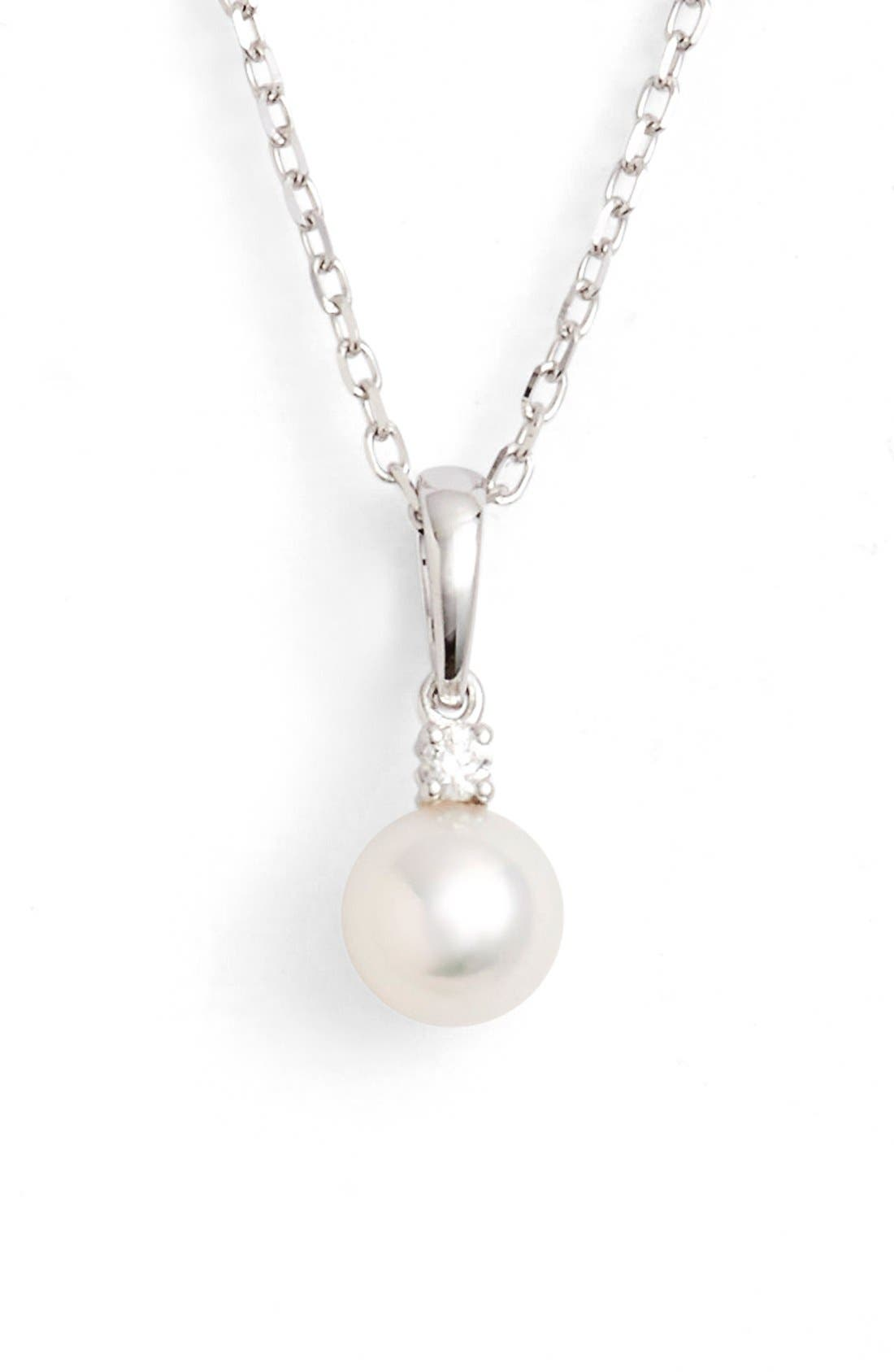 Pearl & Diamond Pendant Necklace,                         Main,                         color, White Gold