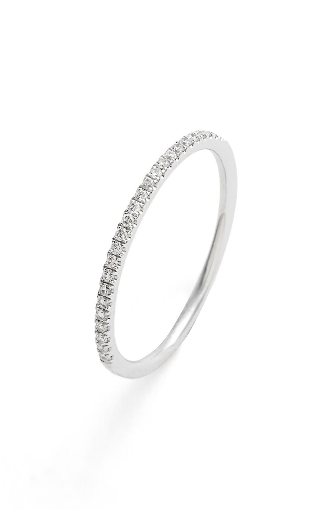 'Stackable' Straight Diamond Band Ring,                             Alternate thumbnail 2, color,                             White Gold