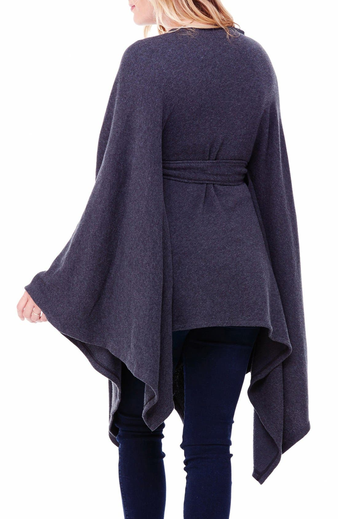 Cozy Maternity Wrap,                             Alternate thumbnail 2, color,                             Charcoal Grey