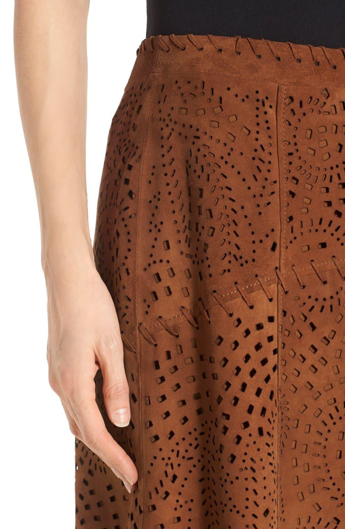 Alternate Image 4  - Kobi Halperin Perforated Suede Asymmetrical A-Line Skirt