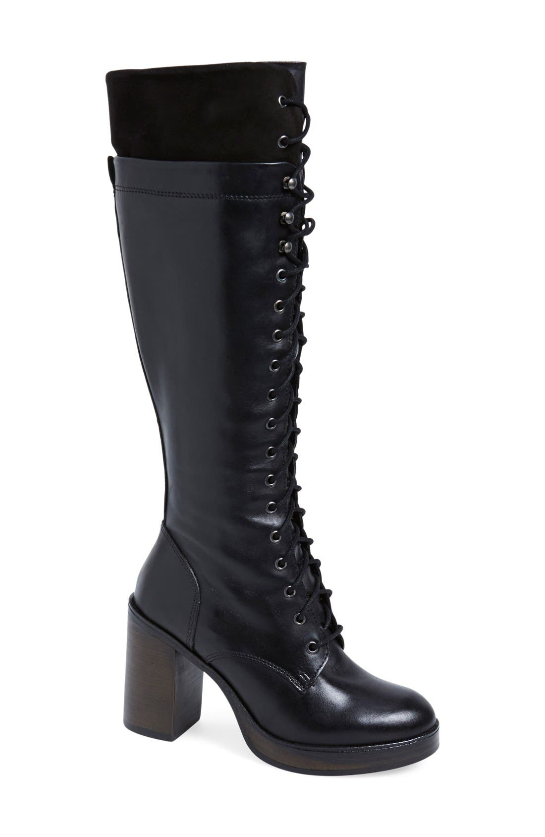 Main Image - Steve Madden 'Nitefall' Tall Lace Up Boot (Women)