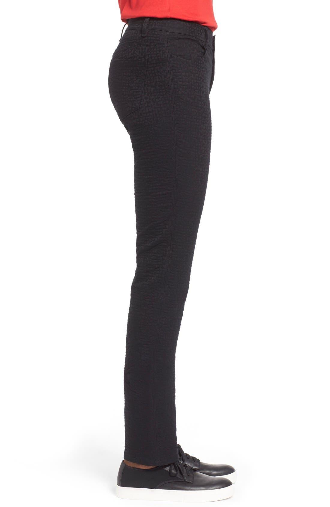 Alternate Image 3  - Lafayette 148 New York Curvy Fit Jacquard Stretch Slim Leg Jeans (Black) (Regular & Petite)