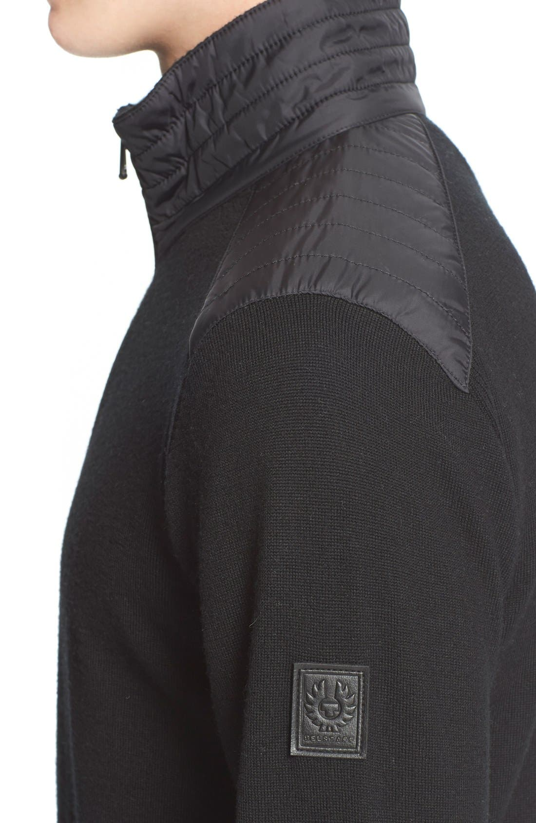 'Kelby' Full Zip Wool Sweater,                             Alternate thumbnail 4, color,                             Black