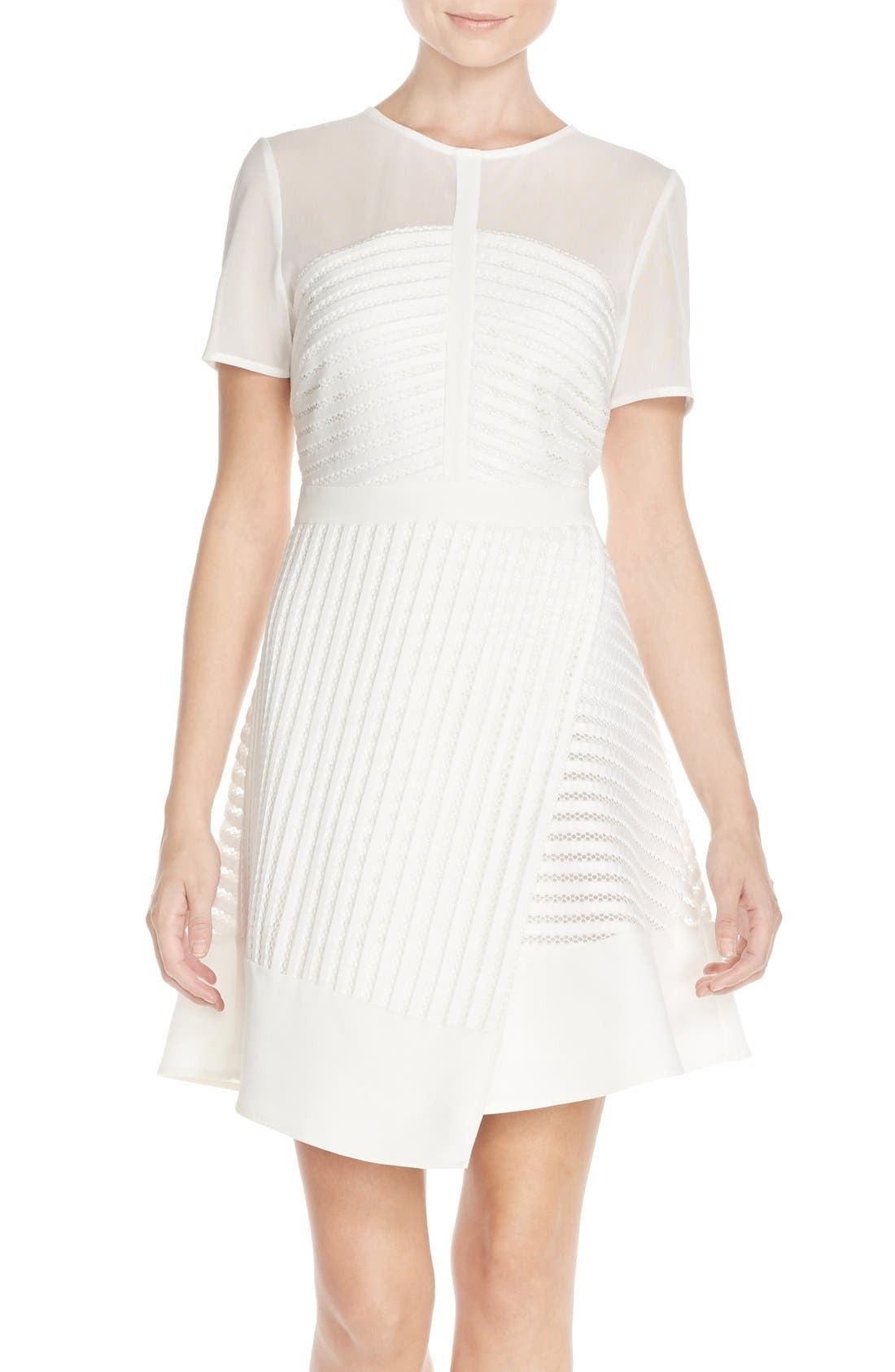 Main Image - Adelyn Rae Mixed Media Fit & Flare Dress