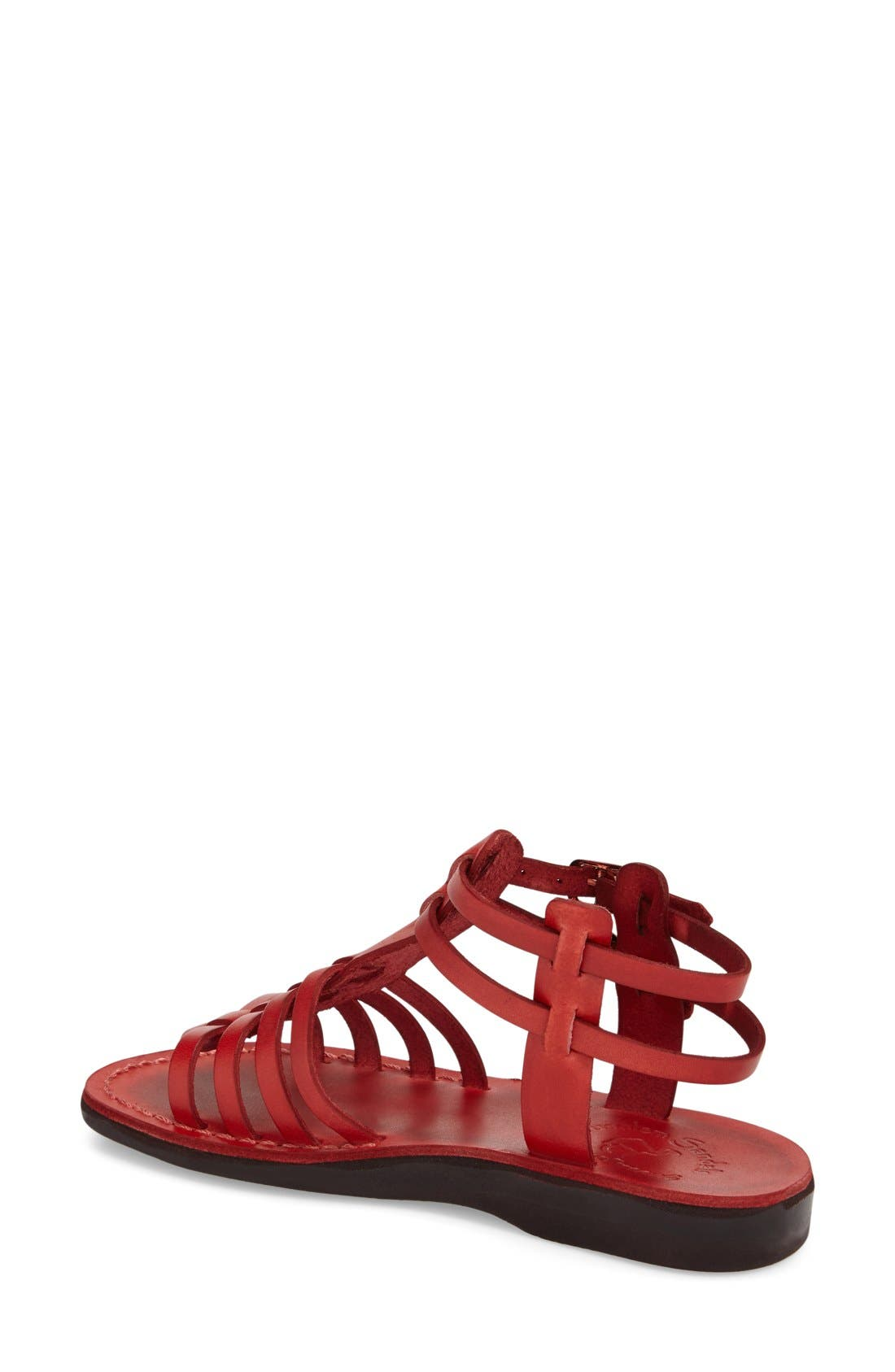 'Leah' Sandal,                             Alternate thumbnail 2, color,                             Red Leather