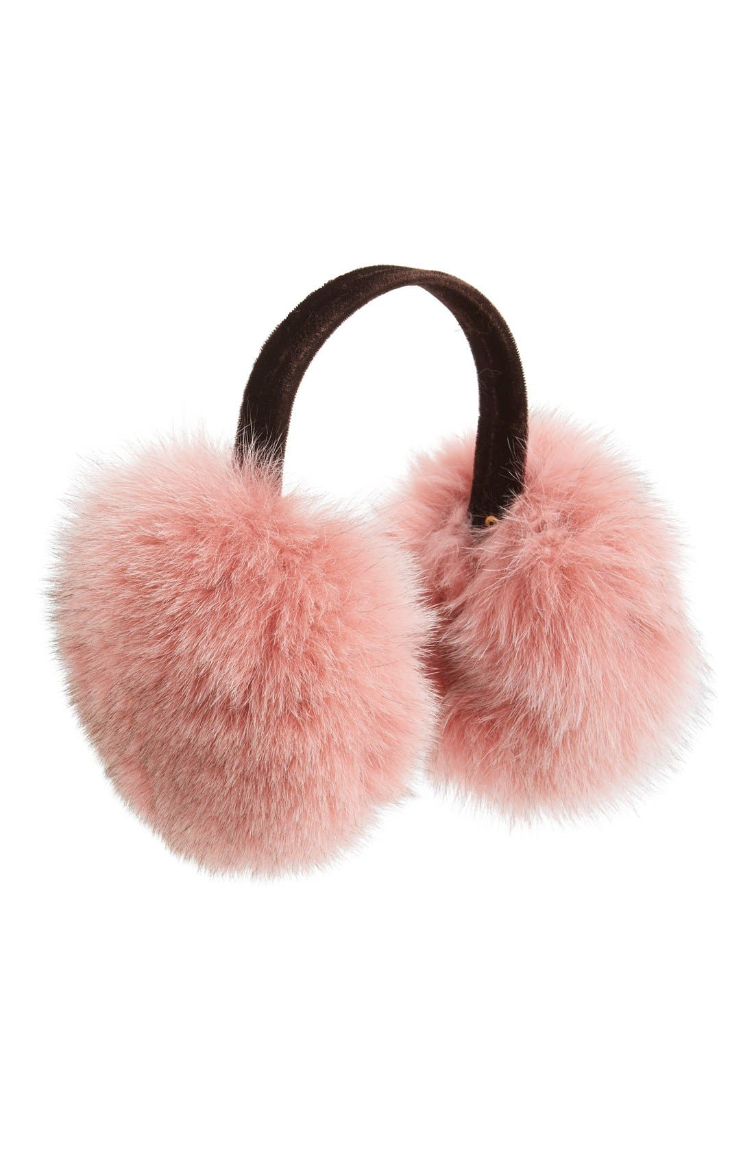 Genuine Fox Fur Earmuffs,                             Main thumbnail 1, color,                             Rosewood