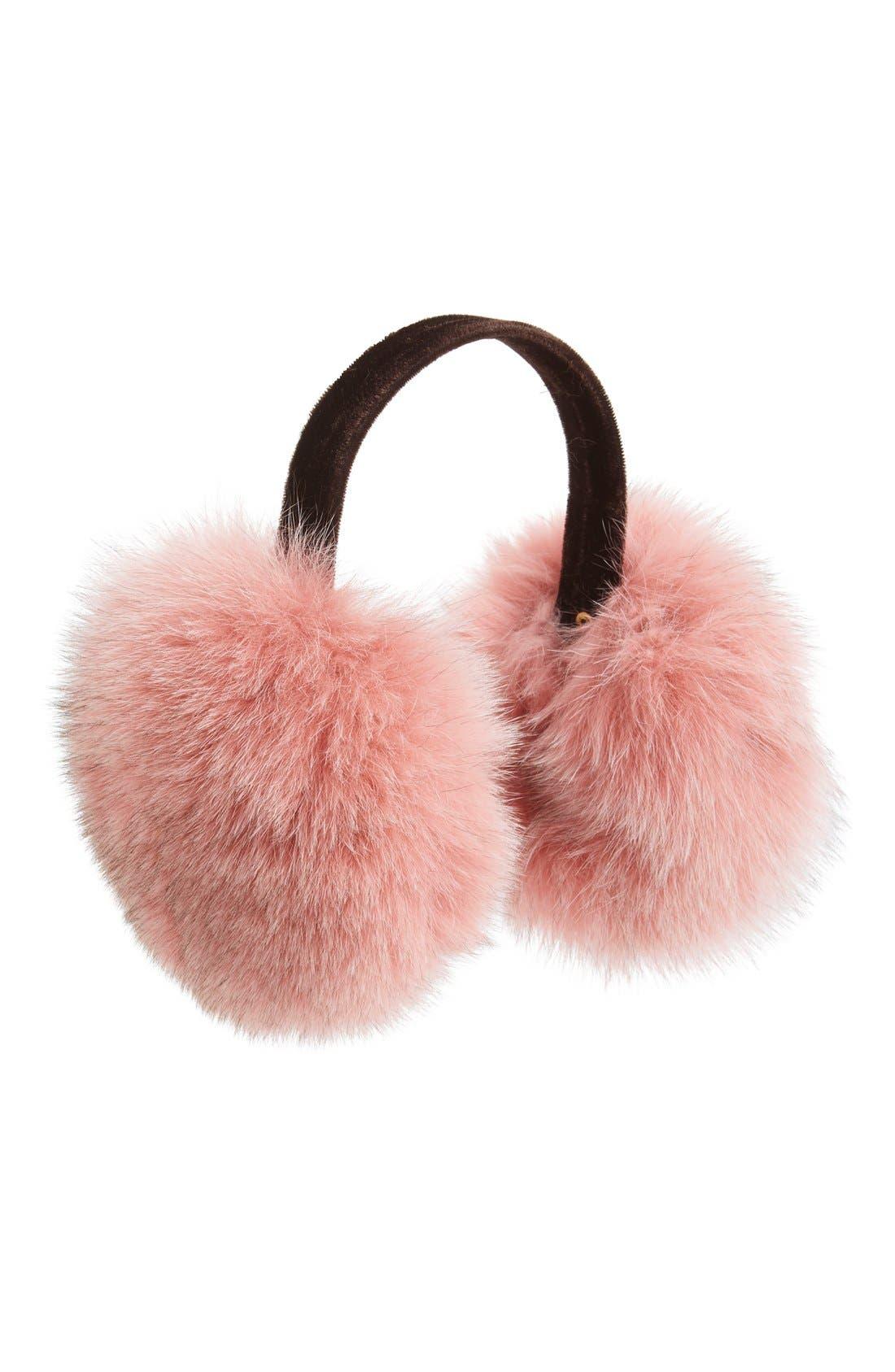 Genuine Fox Fur Earmuffs,                         Main,                         color, Rosewood
